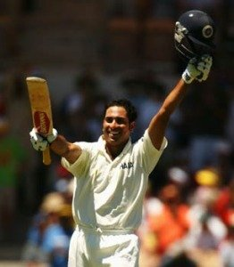 Laxman clebrates after scoring a century at Adeliade oval against Australia