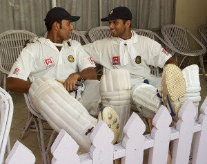 Laxman and Dravid relax after their marathon partnership