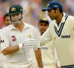 Laxman congratulates Steve Waugh after he'sdismissed in his final test.
