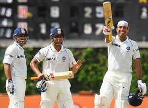 VVS Laxman celebrates century with Suresh Raina and Virender Sehwag