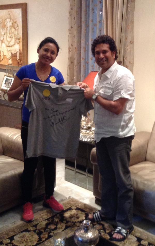 Sachin Tendulkar Meets Sarita Devi