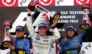 The podium (L to R): Giancarlo Fisichella (ITA) Renault, second; Kimi Raikkonen (FIN) McLaren, race winner; Fernando Alonso (ESP) Renault, third. Formula One World Championship, Rd18, Japanese Grand Prix, Race, Suzuka, Japan, 9 October 2005. BEST IMAGE