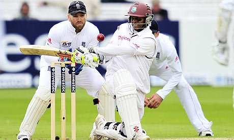 Shivnarine Chanderpaul is trapped lbw to Graeme Swann for 91 runs