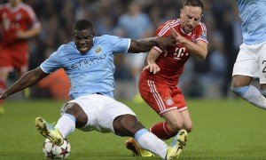 Micah Richards, left, and Franck Ribéry in Manchester City's Champions League tie with Bayern Munich.