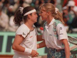 Steffi Graf and Arantxa Sanchez Vicario at 1996 Roland Garros Final