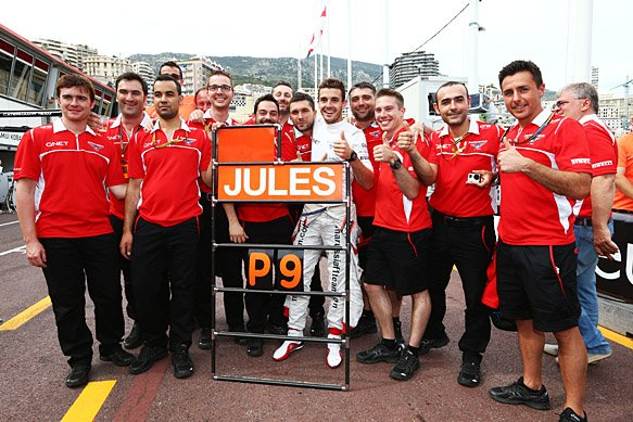 Bianchi and Maurussia celebrating after his 9th place finish handed them their first ever F1 Points