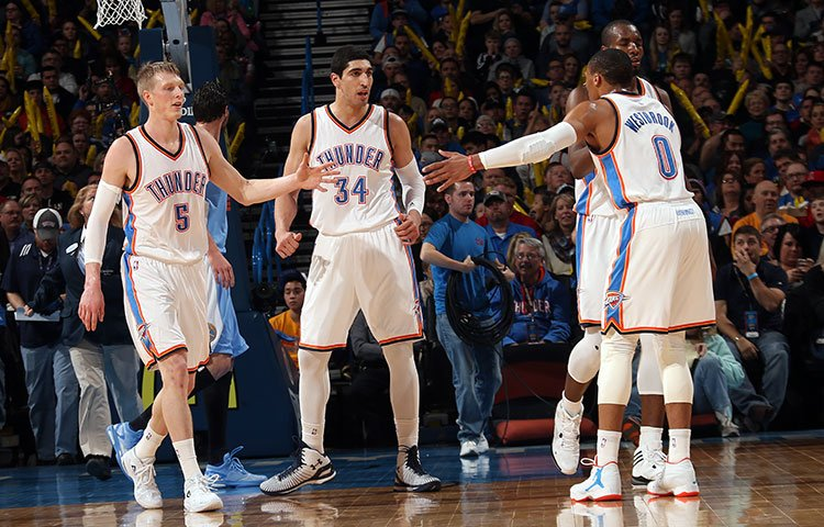Kyle Singler (5) and Enes Kanter (34) were vital additions to the Thunder squad.