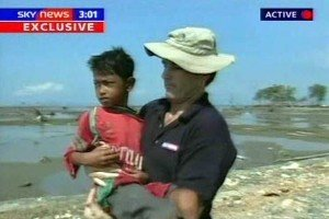 Rescued: The child was rescued to safety by TV crews and charities