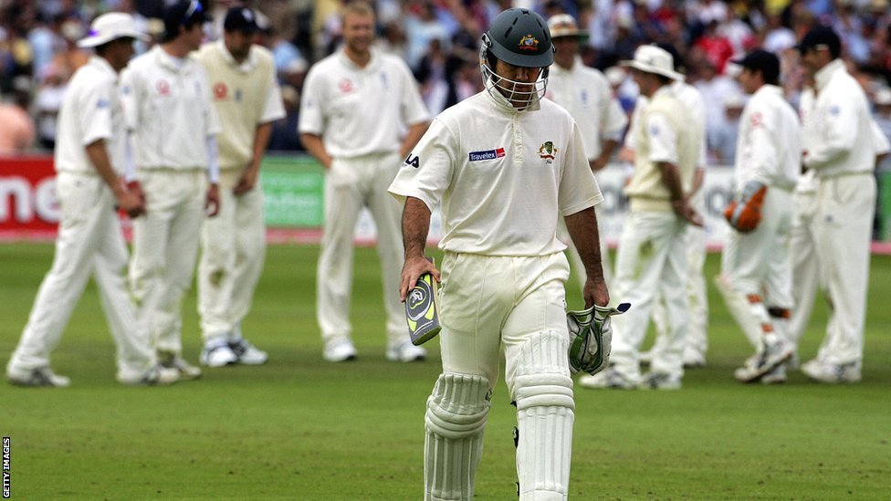 Ricky Ponting run out Ashes 2005