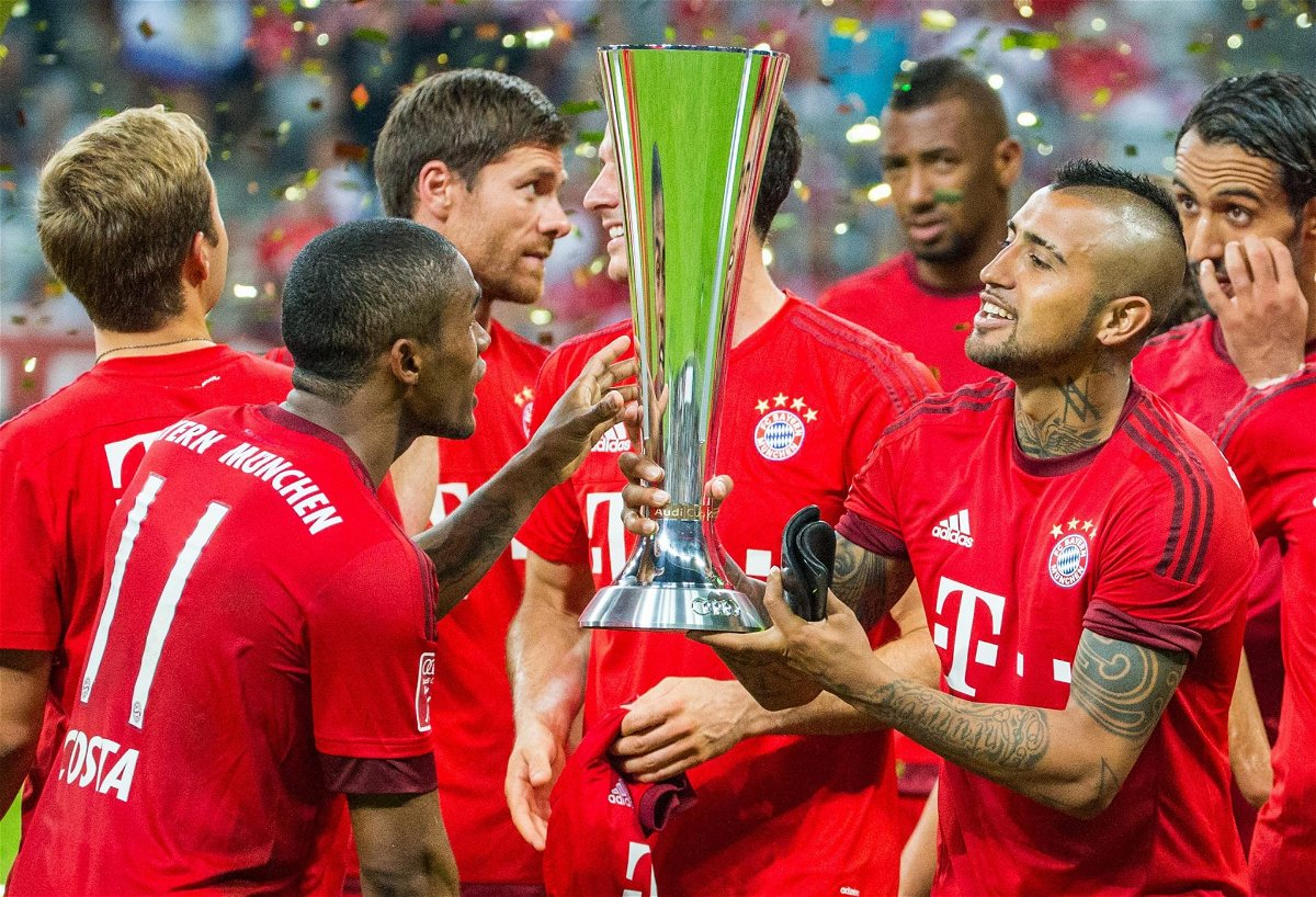 Bayern celebrating with the Audi Cup