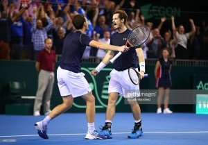Andy and Jamie Murray celebrate after their semi-finals victory