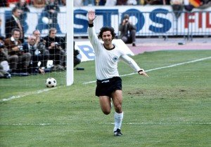 Football - 1972 UEFA European Football Championship - Final: West Germany 3 Soviet Union 0 18/06/1972 West Germany's Gerd Muller celebrates after scoring his second, and his side's third, goal in the Heysel Stadium, Brussels