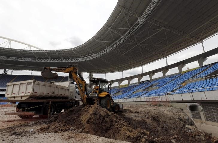 A view of the Olympic Stadium undergoing renovation to stage athletic competitions in the Rio 2016 Olympic Games, is seen during the third world press briefing for the games in Rio de Janeiro