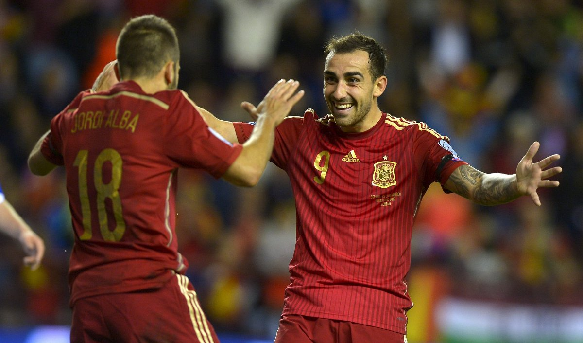 Spain's Jordi Alba and Paco Alcacer celebrate a goal during their Euro 2016 Group C qualification soccer match against Luxembourg in Logrono