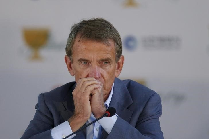 PGA Tour Commissioner Tim Finchem attends a news conference during the 2015 Presidents Cup golf tournament in Incheon, South Korea