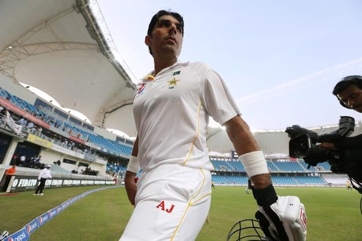 Cricket - Pakistan v England - Second Test - Dubai International Stadium, United Arab Emirates - 22/10/15 Pakistan's Misbah-ul-Haq walks off at the end after reaching his century Action Images via Reuters / Jason O'Brien Livepic