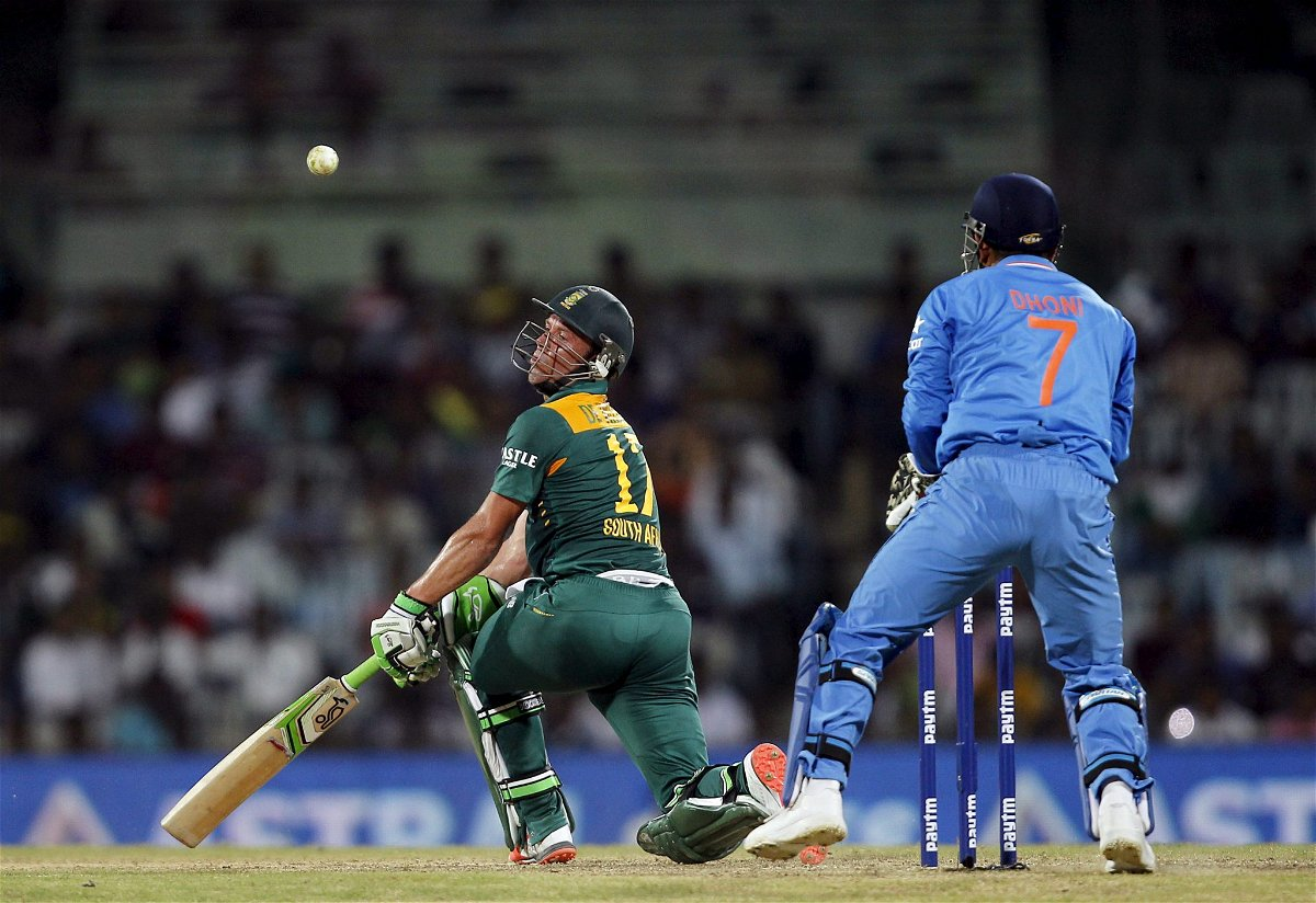 South Africa's AB de Villiers tries to play a shot during their fourth one-day international cricket match against India in Chennai, India, October 22, 2015. REUTERS/Danish Siddiqui