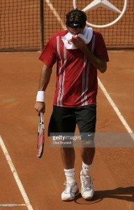 ROME - MAY 10: Roger Federer of Switzerland shows his dejection against Filippo Volandri of Italy in their third round match, during the ATP Masters Series at the Foro Italico, May 10, 2007 in Rome, Italy. (Photo by Clive Brunskill/Getty Images) *** Local Caption *** Roger Federer