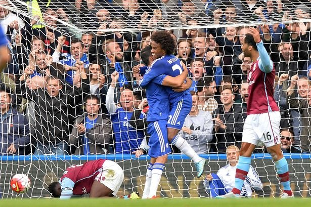 Willian celebrates with Costa