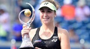 Bencic with her Roger's cup trophy