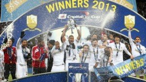 Swansea celebrating League Cup win