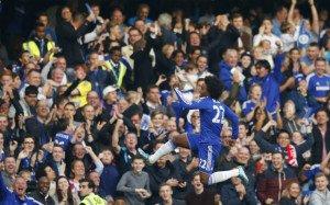 Willian celebrates after scoring