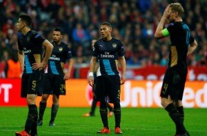 Arsenal's Kieran Gibbs and team mates look dejected Reuters / Michael Dalder Livepic EDITORIAL USE ONLY.