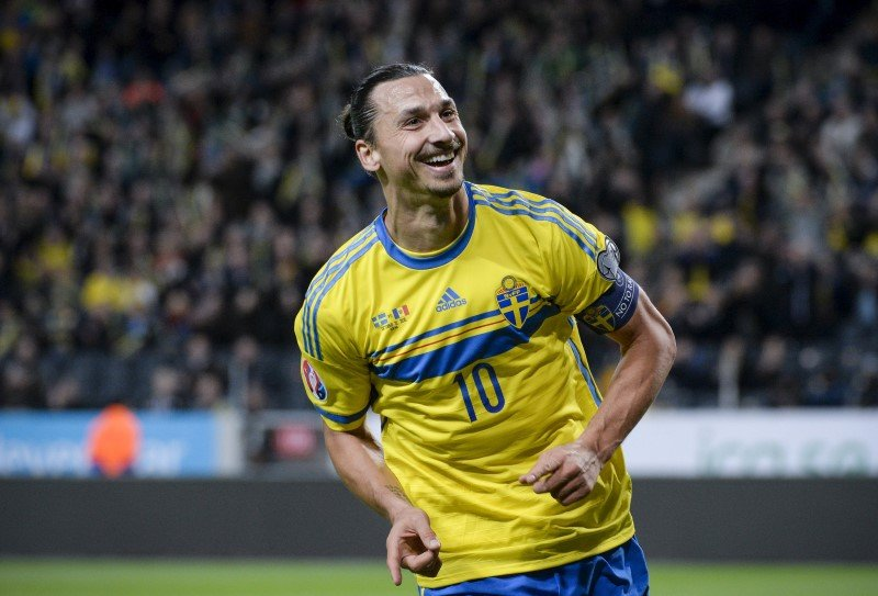 Zlatan Ibrahimovic celebrating
