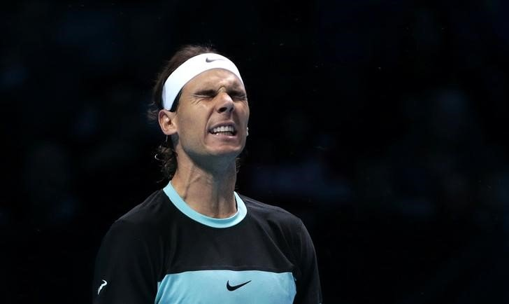 Tennis - Barclays ATP World Tour Finals - O2 Arena, London - 21/11/15 Men's Singles - Spain's Rafael Nadal reacts during his match against Serbia's Novak Djokovic Reuters / Suzanne Plunkett Livepic