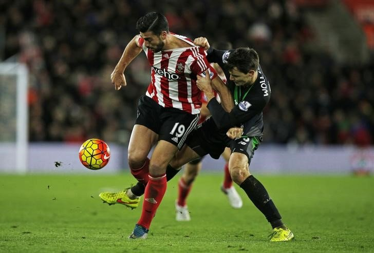 Football - Southampton v Stoke City - Barclays Premier League - St Mary's Stadium - 21/11/15 Stoke's Philipp Wollscheid in action with Southampton's Graziano Pelle Mandatory Credit: Action Images / Peter Cziborra Livepic