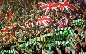 The difference in flags. Celtics tend to show Irish colors while the Rangers wave the Union Jack