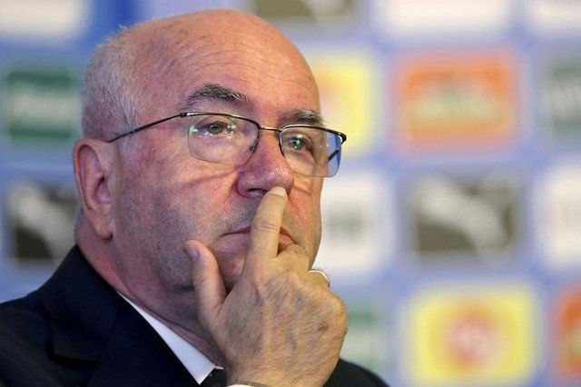 Italian Football Federation President Tavecchio attends a media conference in Rome