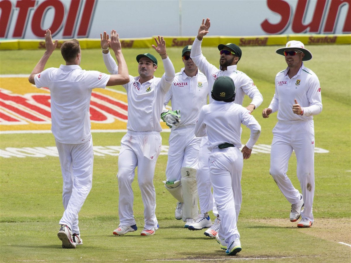 South Africa celebrate the wicket of England's Moeen Ali (not in picture) during the first cricket test match in Durban, South Africa, December 27, 2015. REUTERS/Rogan Ward