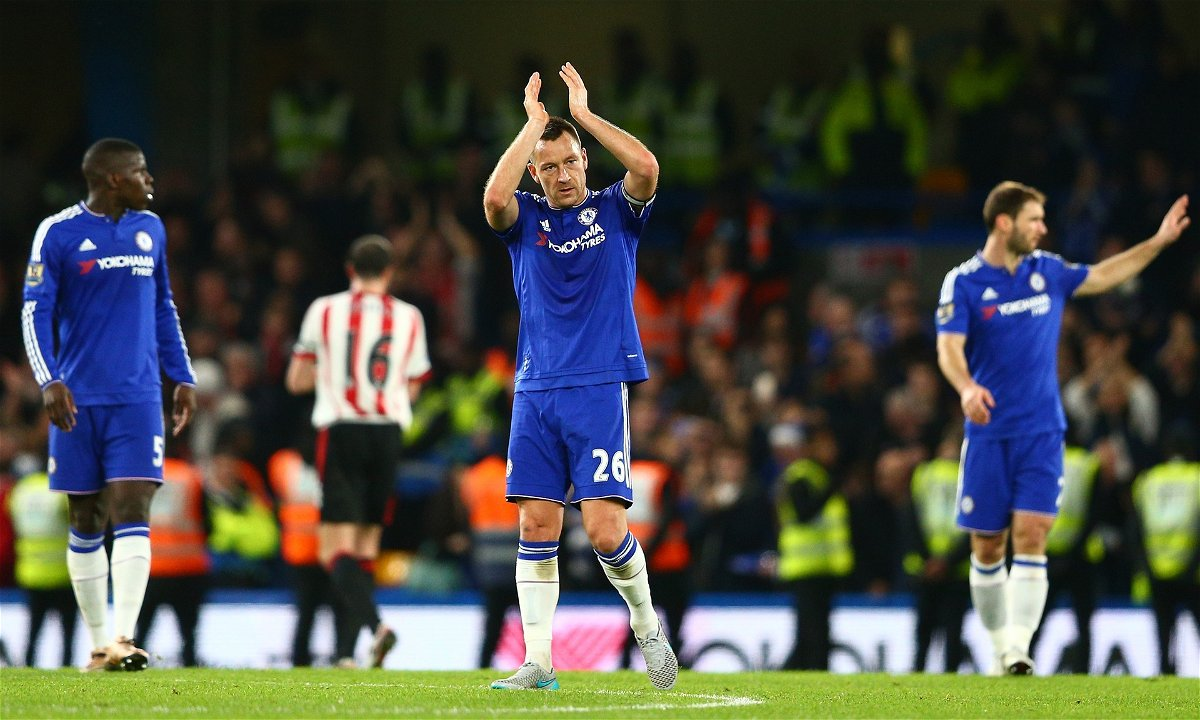 John Terry of Chelsea applauds fans after his team's 3-1 win over Sunderland at Stamford Bridge. Photograph: Clive Mason/Getty Images