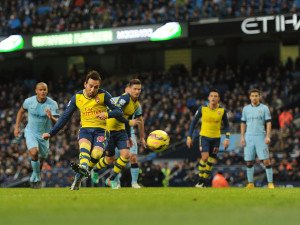 Cazorla gives Arsenal a two goal lead from the penalty spot