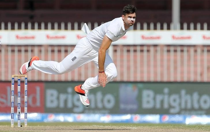 Cricket - Pakistan v England - Third Test - Sharjah Cricket Stadium, United Arab Emirates - 4/11/15 England's James Anderson in action bowling Action Images via Reuters / Jason O'Brien Livepic/Files