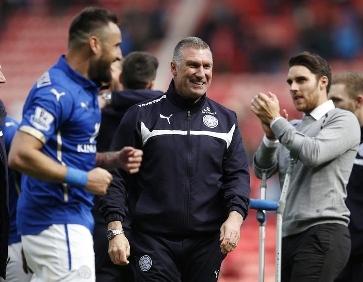 Football - Sunderland v Leicester City - Barclays Premier League - Stadium of Light - 16/5/15 Then Leicester manager Nigel Pearson celebrates avoiding relegation at the end of the game Action Images via Reuters / Lee Smith Livepic/Files