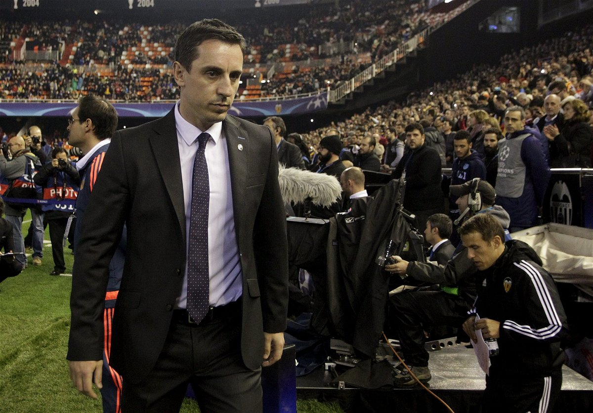 Football Soccer - Valencia v Olympique Lyon - Champions League Group stage - Group H - Mestalla Stadium, Valencia, Spain, 9/12/15. Valencia's new coach Gary Neville before the match. REUTERS/Heino Kalis/Files