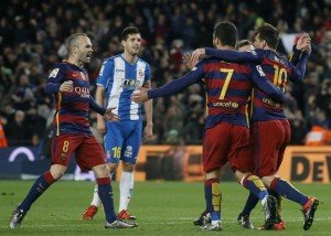 Football Soccer - Barcelona v Espanyol - Spain King's Cup - Camp Nou stadium, Barcelona - 6/1/16.(L-R) Barcelona's Andres Iniesta, Arda Turan and Lionel Messi celebrate a goal against Espanyol's Javi Lopez (2nd R). REUTERS/Albert Gea