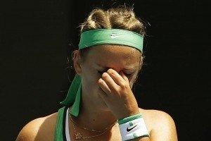 Belarus' Victoria Azarenka reacts during her quarter-final match against Germany's Angelique Kerber at the Australian Open tennis tournament at Melbourne Park, Australia, January 27, 2016. REUTERS/Issei Kato