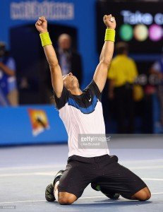 Rafael Nadal of Spain celebrates after winning his semifinal match against Fernando Verdasco. Courtesy -gettyimages