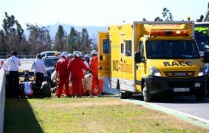 Alonso being airlifted after the accident. Credits- getty images