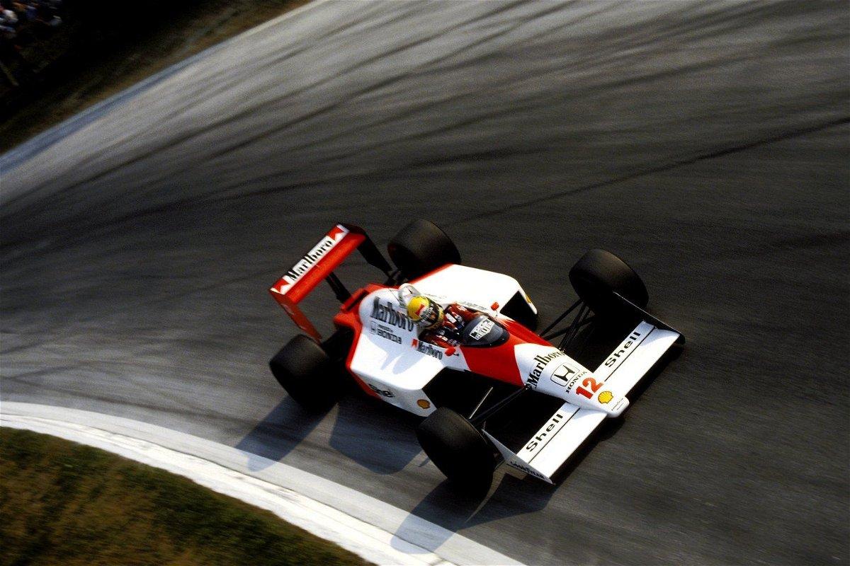 Ayrton Senna drives the MP4/4 in Monza,1988