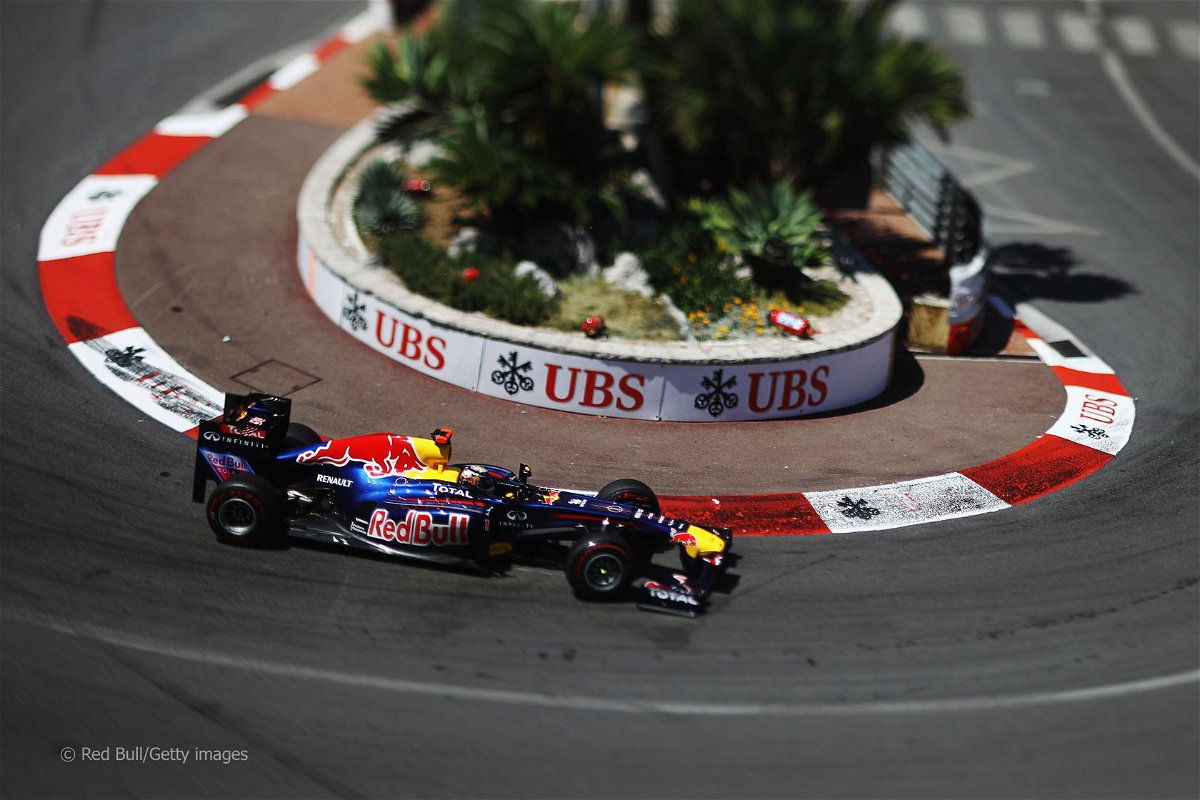 Sebastian Vettel drives the RB7 around Monaco.
