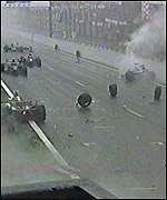 The huge debris after a major pile up of 11 cars at Spa, 1998. Courtesy-news.bbc.co.uk/