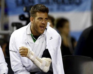 Argentina's tennis player Del Potro, who underwent an operation on his left wrist last June, cheers Argentina's Delbonis during his Davis Cup tennis match against Serbia's Troicki in Buenos Aires