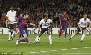 Lionel Messi scores his second of the night