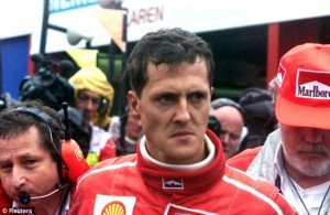 Schumacher leaving the McLaren garage after confronting David Coulthard following their collision at the 1998 Belgian GP. Courtesy- dailymail.uk