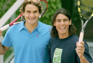 PARIS - JUNE 02: Roger Federer of Switzerland and Rafael Nadal of Spain stand side by side as they pose for photos prior to their semi-final match tomorrow during the eleventh day of the French Open at Roland Garros on June 2, 2005 in Paris, France. (Photo by Clive Mason/Getty Images)