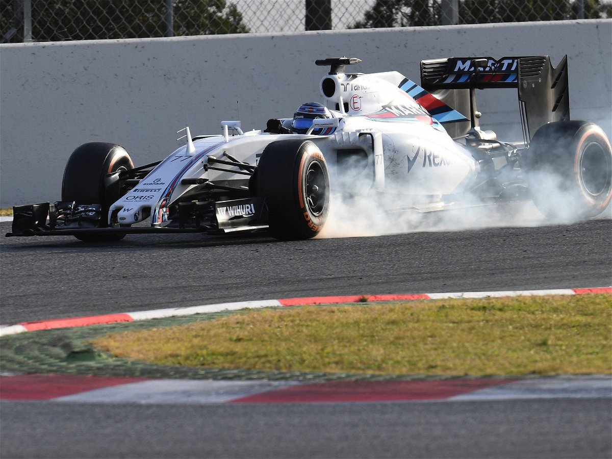Valtteri Bottas locks up while testing the FW38 in Barcelona